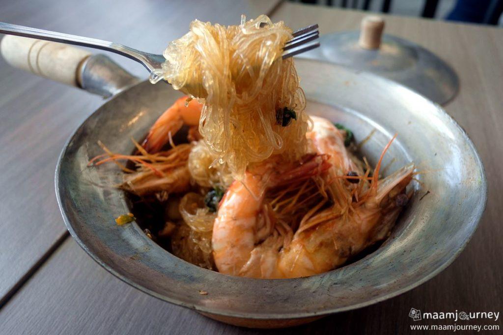 Kungthong Seafood_กุ้งทอง_กะเพรากุ้งแชบ๊วยอบวุ้นเส้น_2