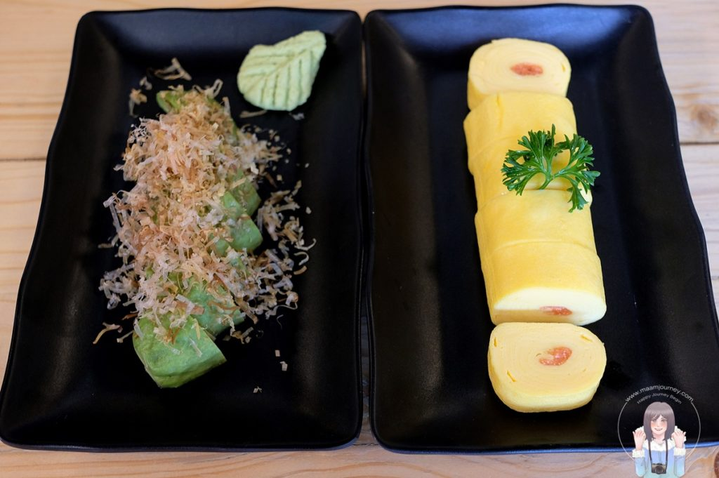 Avocado Asazuke (150 บาท) Mentaiko Dashimaki (100 บาท)