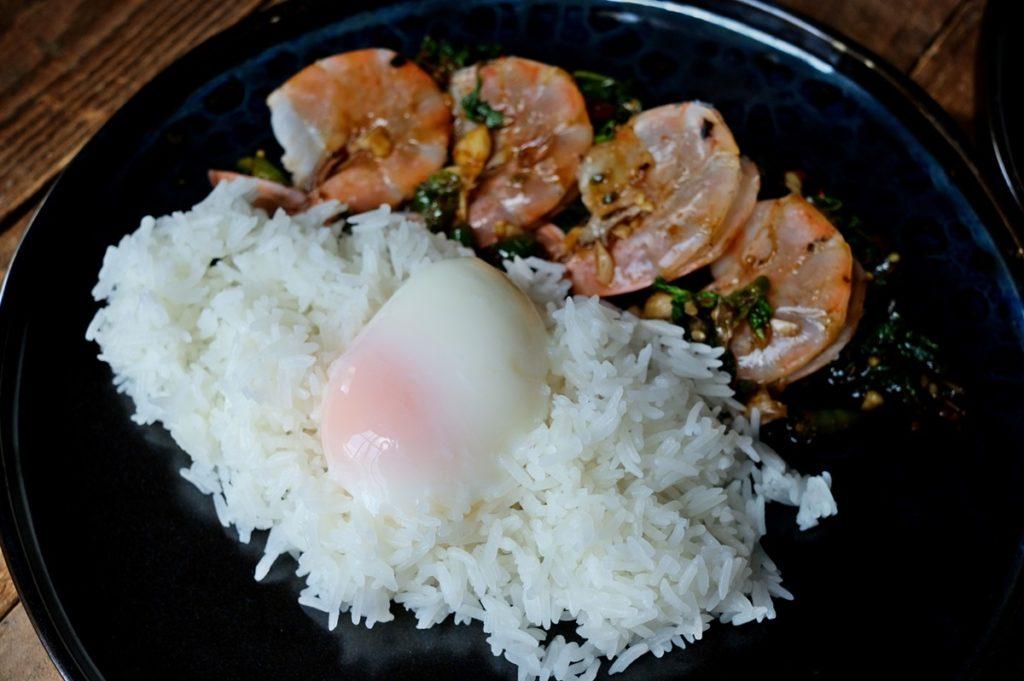 ข้าวกะเพรากุ้ง + ไข่ออนเซน Thai Holy Basil Shrimps with Jasmine Rice & Onsen Egg